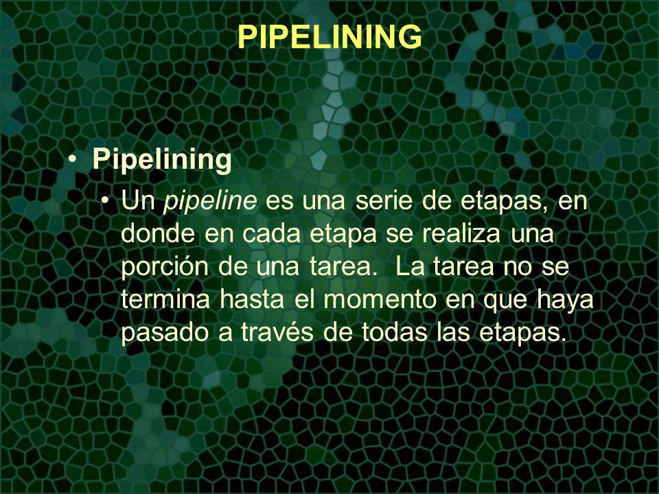 PIPELINING Pipelining Un pipeline es usado para mejorar el desempeño mas allá de lo que puede ser alcanzado con un procesamiento sin pipeline.