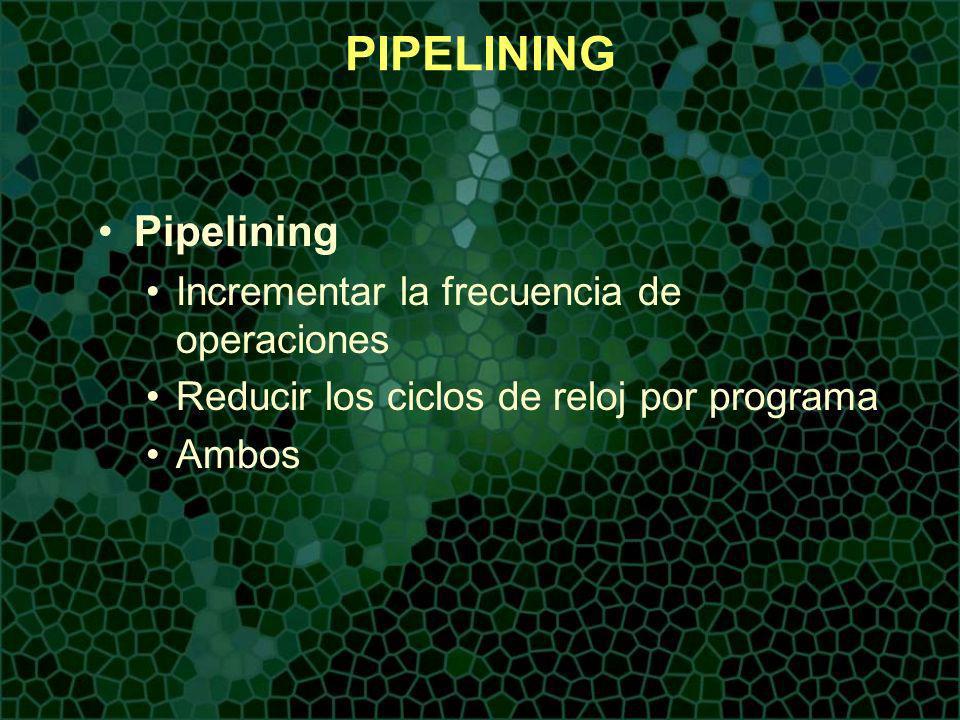 PIPELINING Pipelining Incrementar la frecuencia de operaciones Reducir los ciclos de reloj por programa Ambos