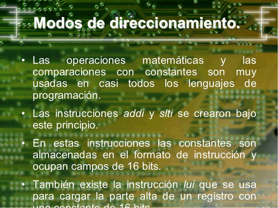 Modos de direccionamiento. Las operaciones matemáticas y las comparaciones con constantes son muy usadas en casi todos los lenguajes de programación.
