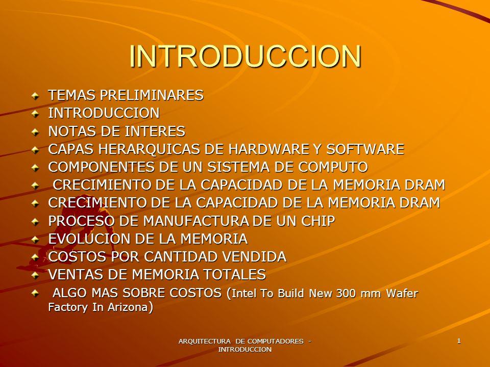 ARQUITECTURA DE COMPUTADORES - INTRODUCCION 1 INTRODUCCION TEMAS PRELIMINARES INTRODUCCION NOTAS DE INTERES CAPAS HERARQUICAS DE HARDWARE Y SOFTWARE C