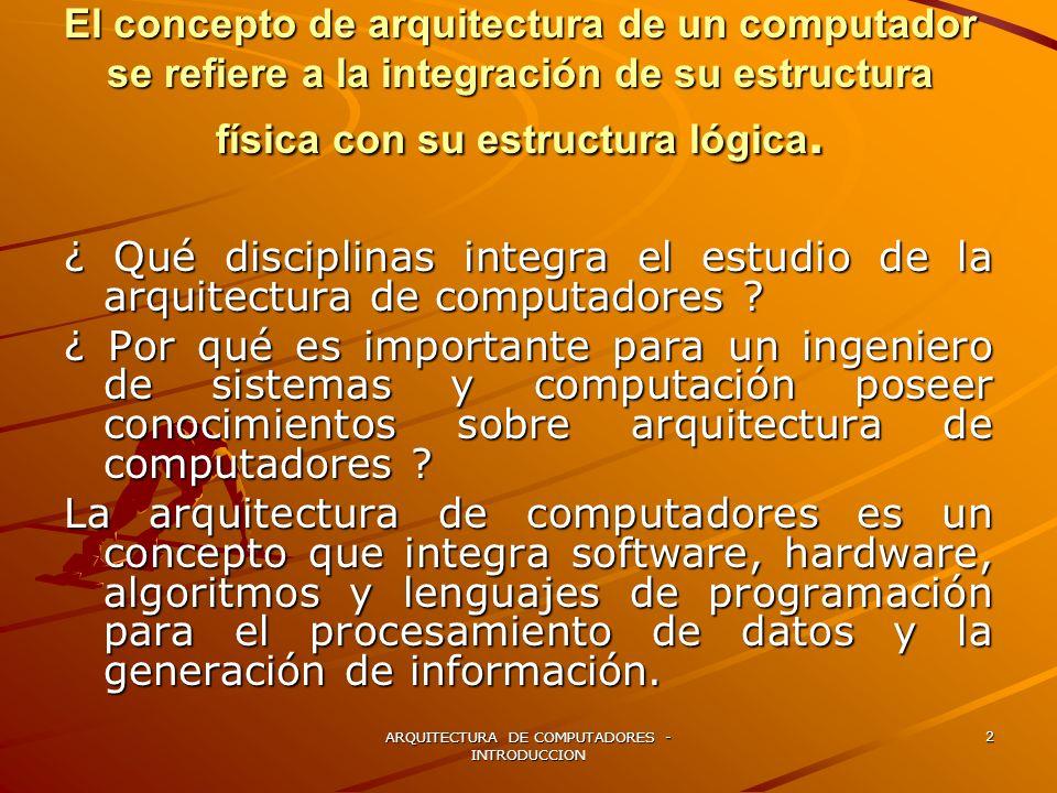 ARQUITECTURA DE COMPUTADORES - INTRODUCCION 2 El concepto de arquitectura de un computador se refiere a la integración de su estructura física con su