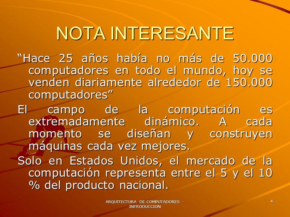 ARQUITECTURA DE COMPUTADORES - INTRODUCCION 4 NOTA INTERESANTE Hace 25 años había no más de 50.000 computadores en todo el mundo, hoy se venden diaria