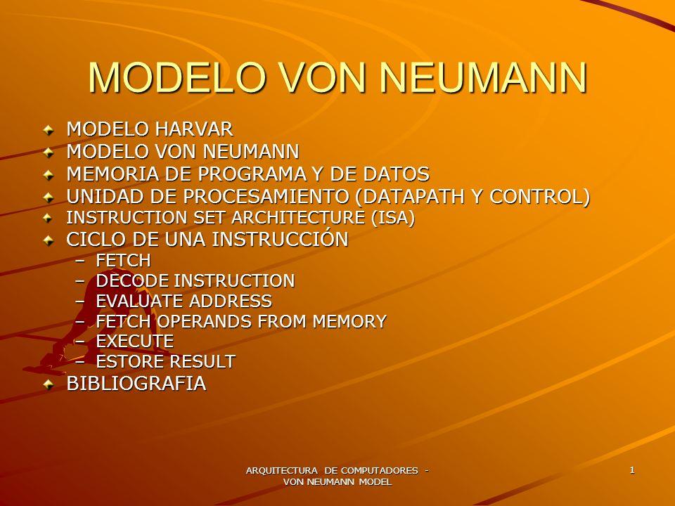 ARQUITECTURA DE COMPUTADORES - VON NEUMANN MODEL 1 MODELO VON NEUMANN MODELO HARVAR MODELO VON NEUMANN MEMORIA DE PROGRAMA Y DE DATOS UNIDAD DE PROCES
