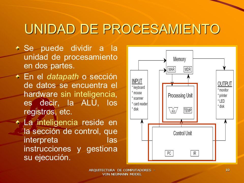 ARQUITECTURA DE COMPUTADORES - VON NEUMANN MODEL 10 UNIDAD DE PROCESAMIENTO Se puede dividir a la unidad de procesamiento en dos partes. En el datapat