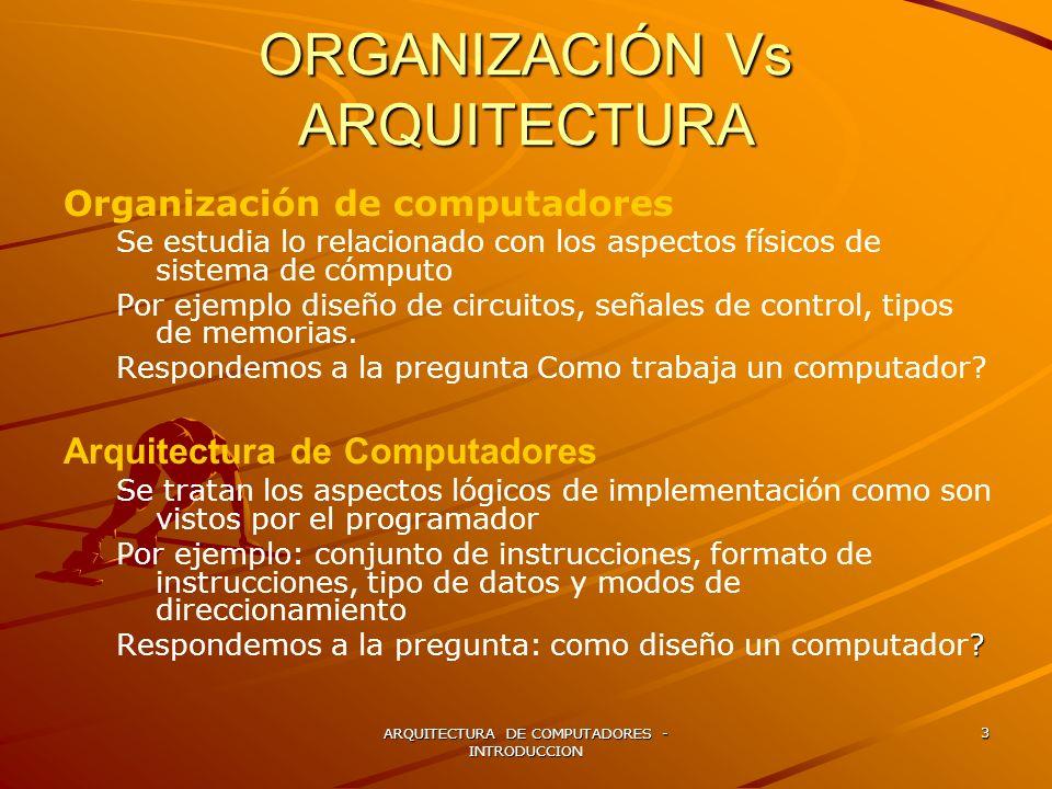 ARQUITECTURA DE COMPUTADORES - INTRODUCCION 3 ORGANIZACIÓN Vs ARQUITECTURA Organización de computadores Se estudia lo relacionado con los aspectos fís