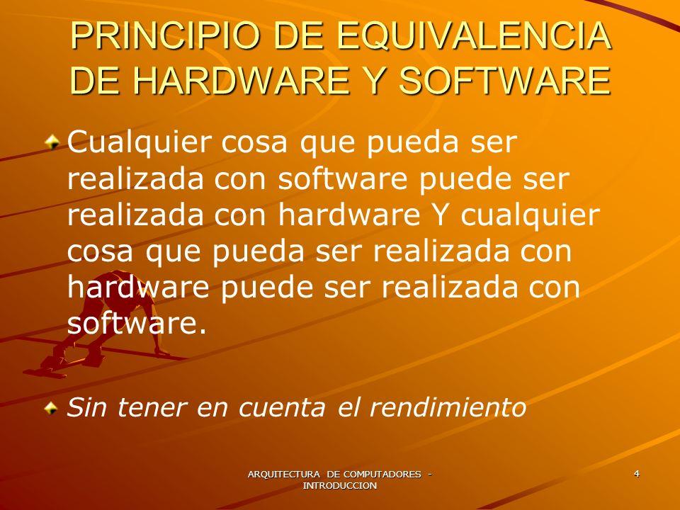 ARQUITECTURA DE COMPUTADORES - INTRODUCCION 4 PRINCIPIO DE EQUIVALENCIA DE HARDWARE Y SOFTWARE Cualquier cosa que pueda ser realizada con software pue