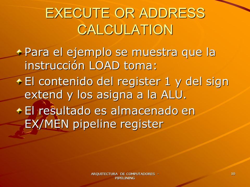 ARQUITECTURA DE COMPUTADORES - PIPELINING 10 EXECUTE OR ADDRESS CALCULATION Para el ejemplo se muestra que la instrucción LOAD toma: El contenido del