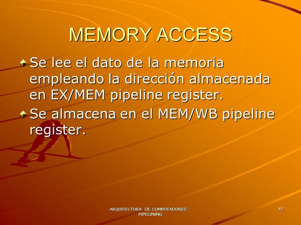 ARQUITECTURA DE COMPUTADORES - PIPELINING 12 MEMORY ACCESS Se lee el dato de la memoria empleando la dirección almacenada en EX/MEM pipeline register.