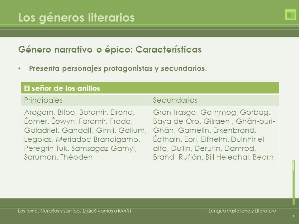 Los géneros literarios Género narrativo o épico: Características Presenta personajes protagonistas y secundarios.