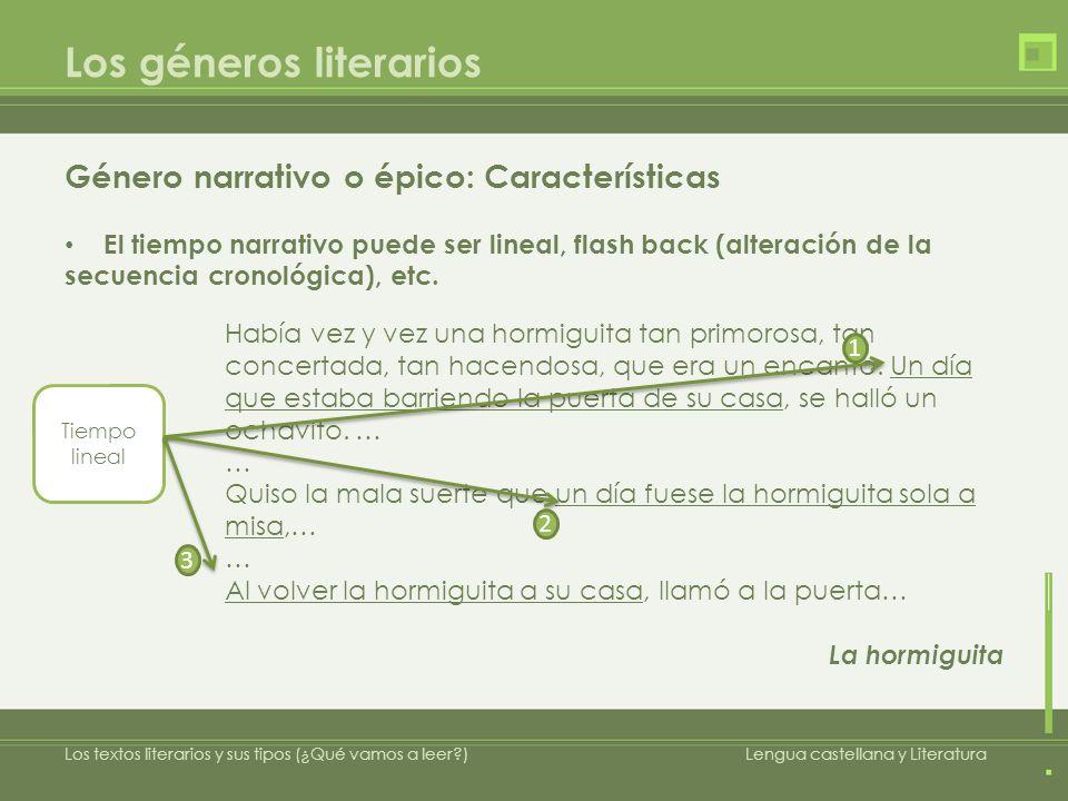 Los géneros literarios Género narrativo o épico: Características El tiempo narrativo puede ser lineal, flash back (alteración de la secuencia cronológica), etc.