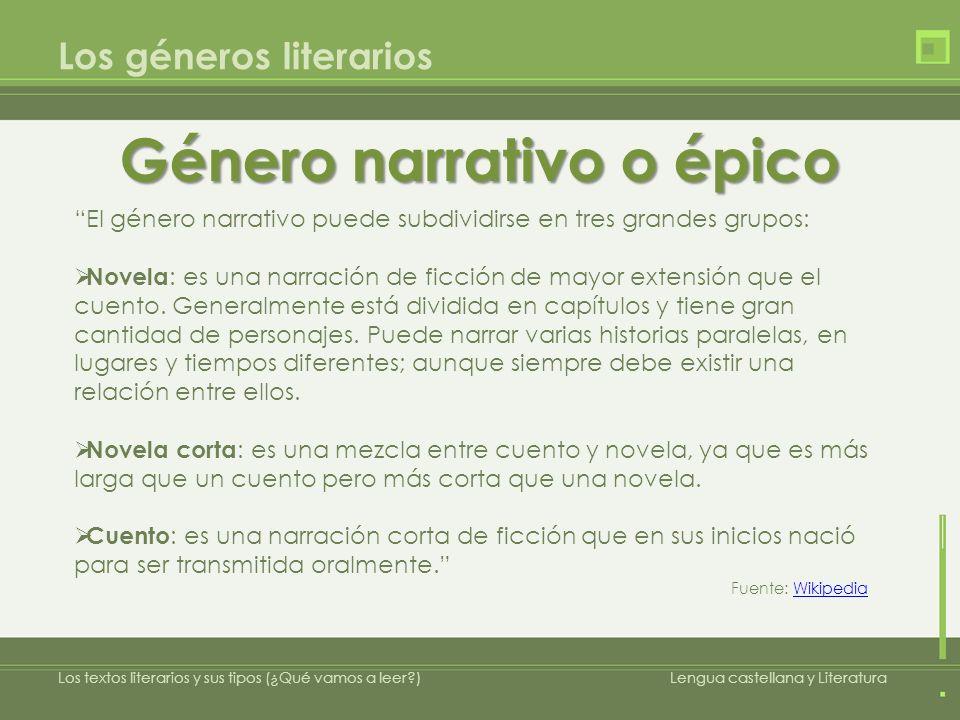 Los géneros literarios Género narrativo o épico Los textos literarios y sus tipos (¿Qué vamos a leer?)Lengua castellana y Literatura El género narrati