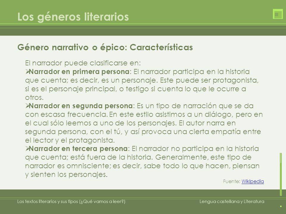 Los géneros literarios Género narrativo o épico: Características Los textos literarios y sus tipos (¿Qué vamos a leer?)Lengua castellana y Literatura