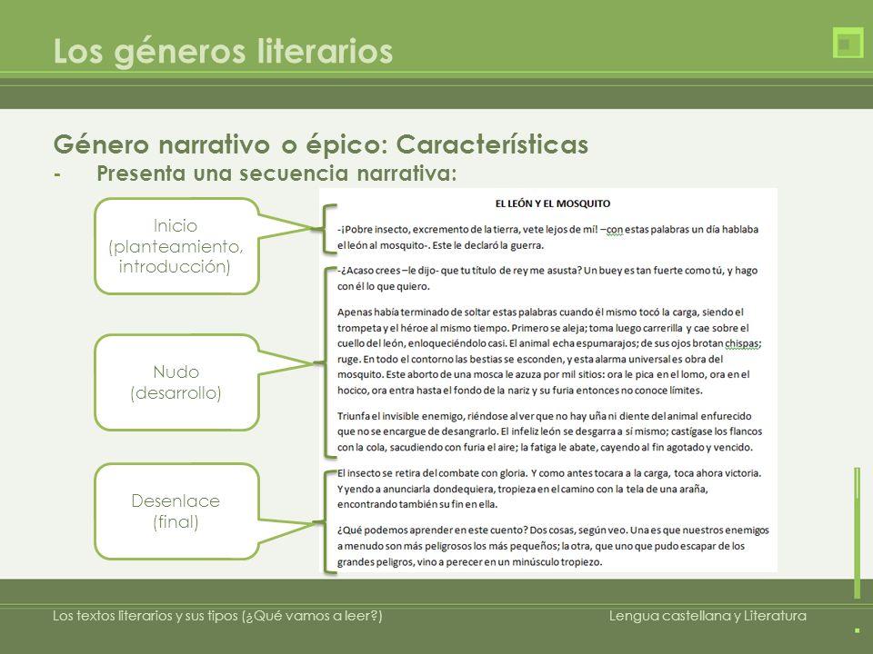 Los géneros literarios Género narrativo o épico: Características -Presenta una secuencia narrativa: Los textos literarios y sus tipos (¿Qué vamos a le