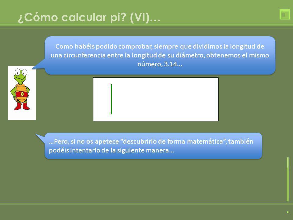 ¿Cómo calcular pi? (VI)… Como habéis podido comprobar, siempre que dividimos la longitud de una circunferencia entre la longitud de su diámetro, obten