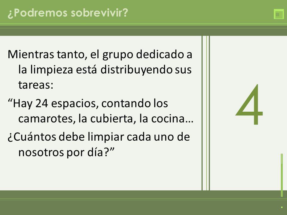 ¿Podremos sobrevivir? Mientras tanto, el grupo dedicado a la limpieza está distribuyendo sus tareas: Hay 24 espacios, contando los camarotes, la cubie