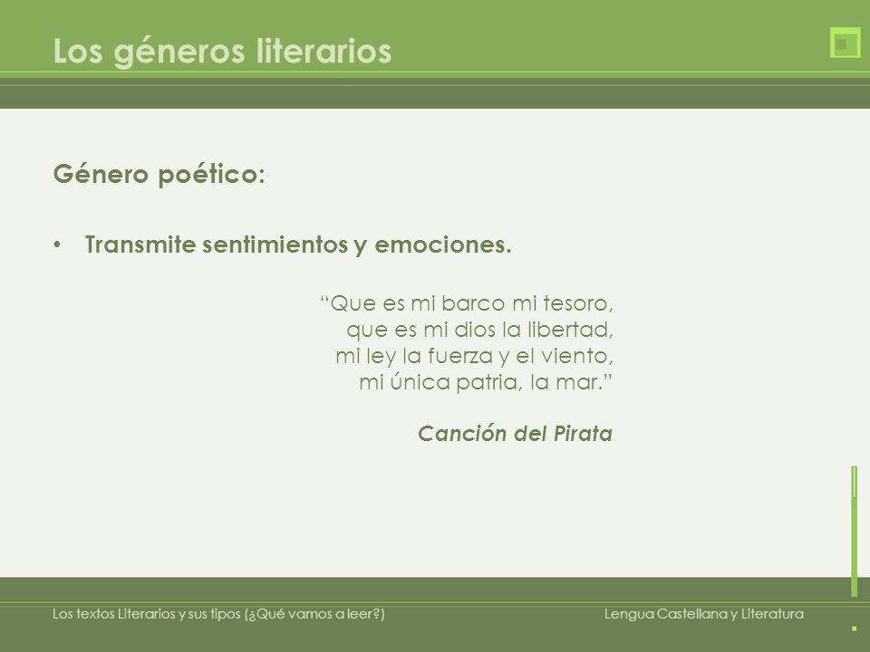 Los géneros literarios Género poético: Conmueve al lector u oyente.