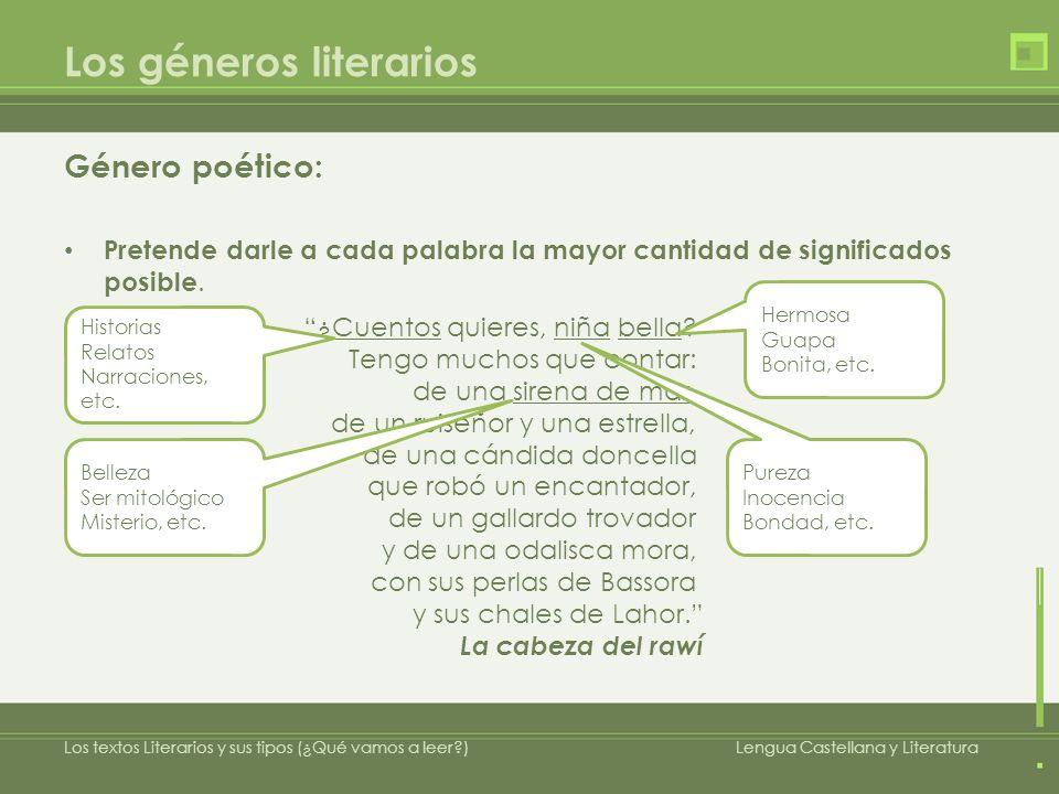 Los géneros literarios Género poético: Está constituido por versos y estrofas.