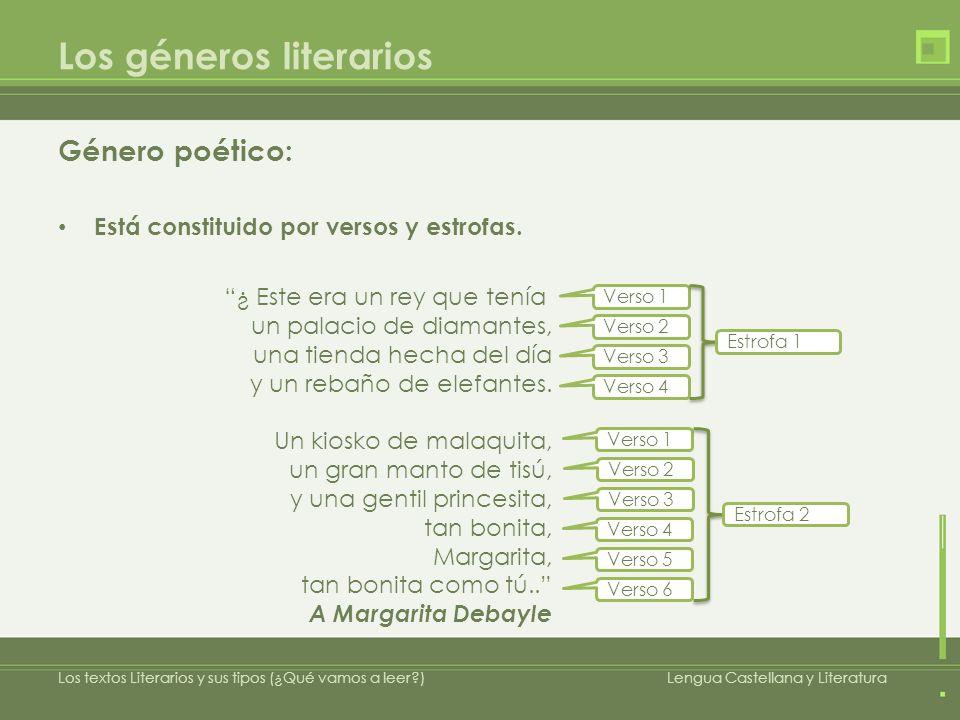Los géneros literarios Género poético: Presenta una singular distribución espacial.