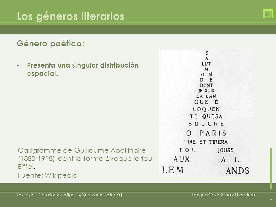 Los géneros literarios Género poético: Presenta una singular distribución espacial. Calligramme de Guillaume Apollinaire (1880-1918) dont la forme évo