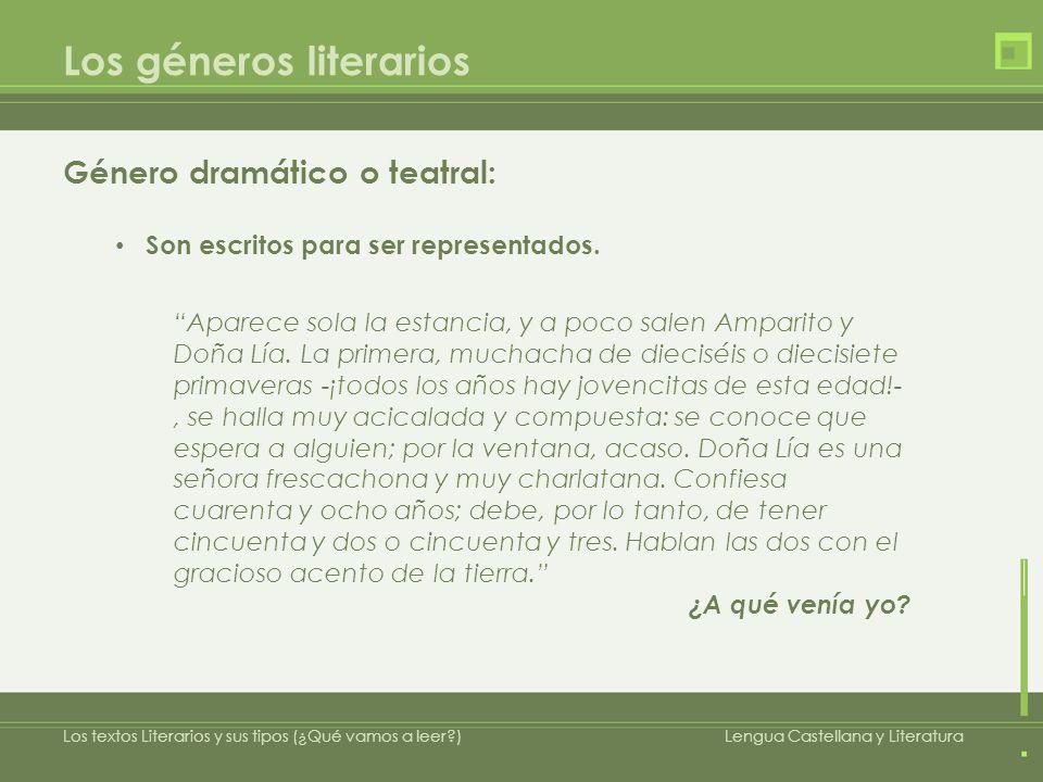Los géneros literarios Género dramático o teatral: Son escritos para ser representados. Los textos Literarios y sus tipos (¿Qué vamos a leer?)Lengua C