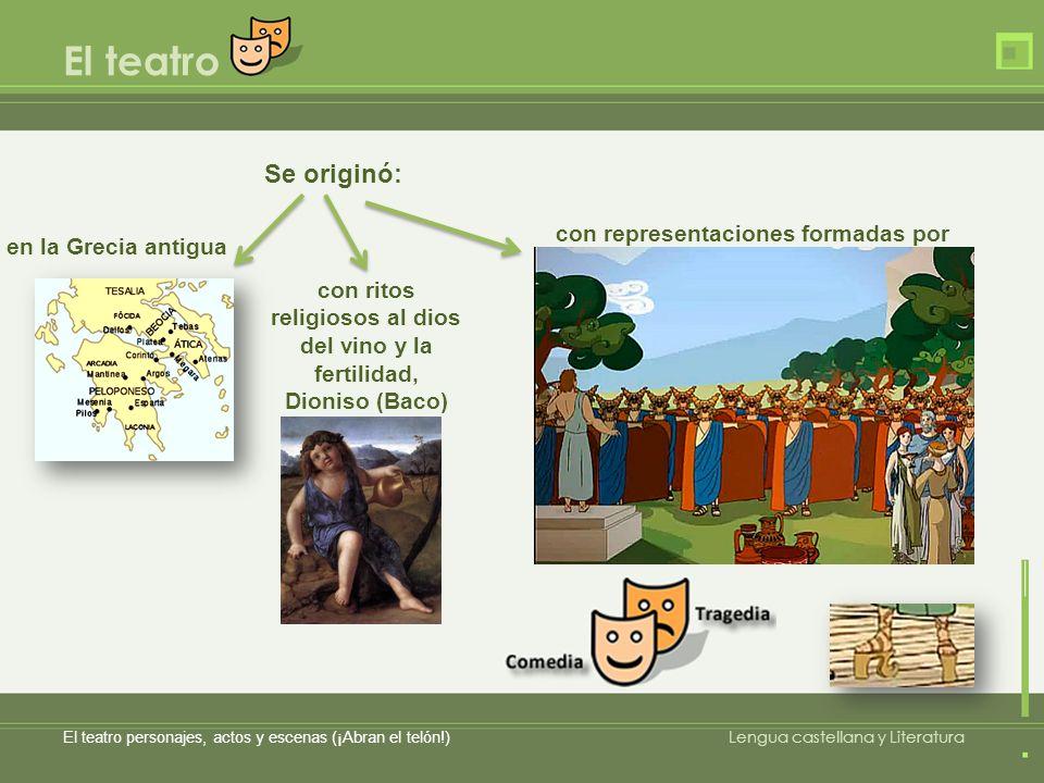 El teatro El teatro personajes, actos y escenas (¡Abran el telón!) Lengua castellana y Literatura Se originó: en la Grecia antigua con ritos religioso