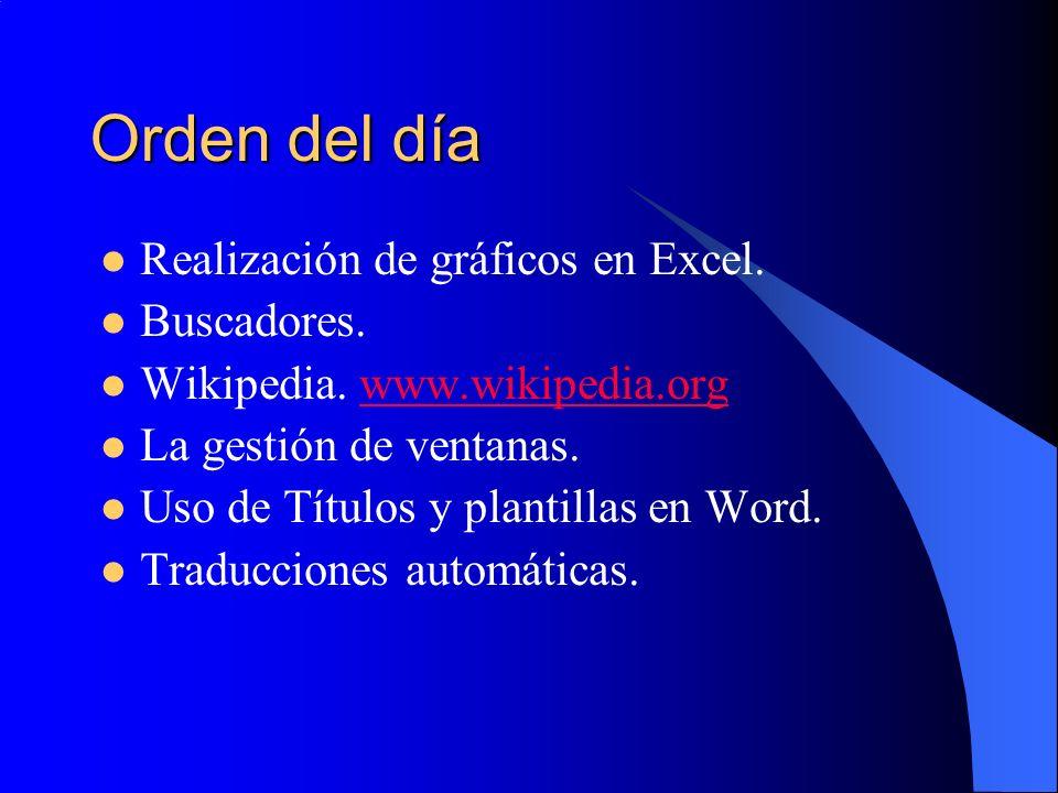 Orden del día Realización de gráficos en Excel. Buscadores. Wikipedia. www.wikipedia.orgwww.wikipedia.org La gestión de ventanas. Uso de Títulos y pla