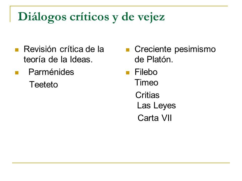 Diálogos críticos y de vejez Revisión crítica de la teoría de la Ideas. Parménides Teeteto Creciente pesimismo de Platón. Filebo Timeo Critias Las Ley