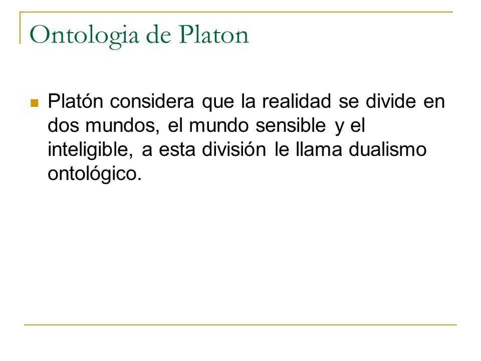 Ontologia de Platon Platón considera que la realidad se divide en dos mundos, el mundo sensible y el inteligible, a esta división le llama dualismo on