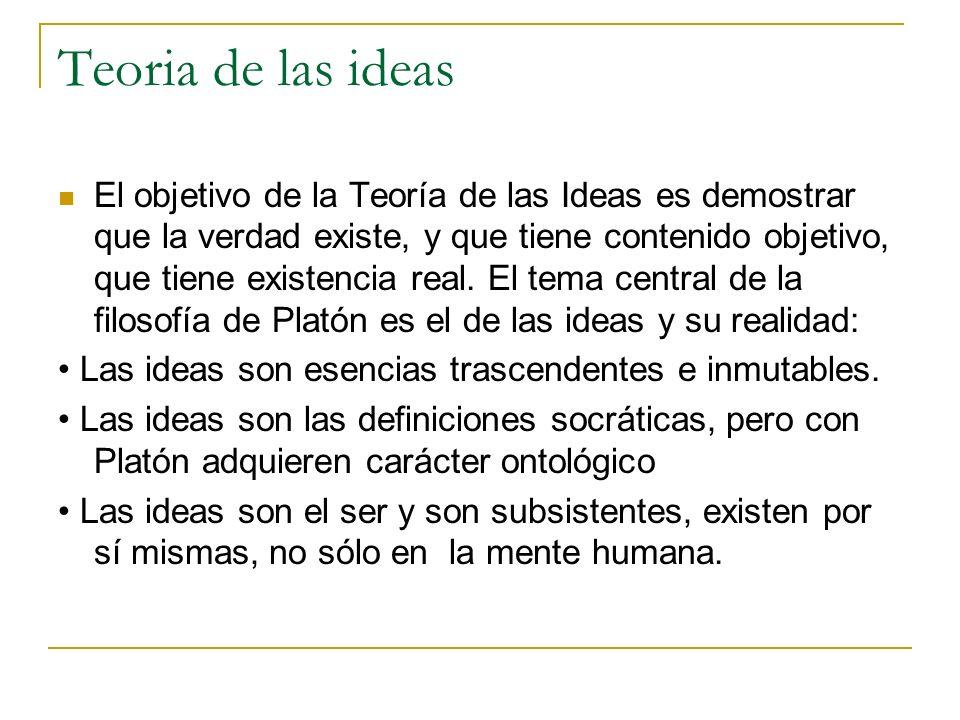 Teoria de las ideas El objetivo de la Teoría de las Ideas es demostrar que la verdad existe, y que tiene contenido objetivo, que tiene existencia real