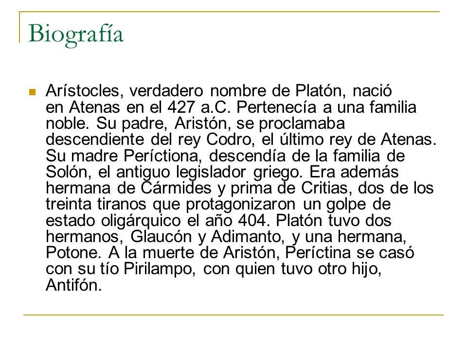 Biografía Arístocles, verdadero nombre de Platón, nació en Atenas en el 427 a.C. Pertenecía a una familia noble. Su padre, Aristón, se proclamaba desc