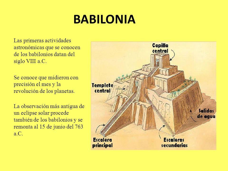 BABILONIA Las primeras actividades astronómicas que se conocen de los babilonios datan del siglo VIII a.C. Se conoce que midieron con precisión el mes