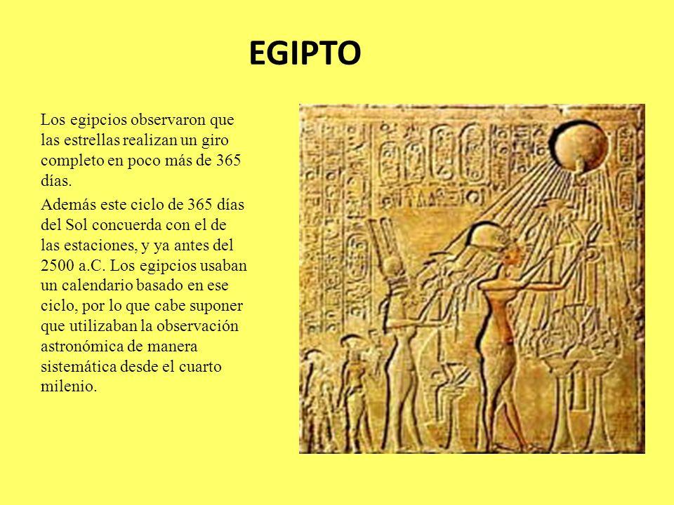 EGIPTO Los egipcios observaron que las estrellas realizan un giro completo en poco más de 365 días. Además este ciclo de 365 días del Sol concuerda co