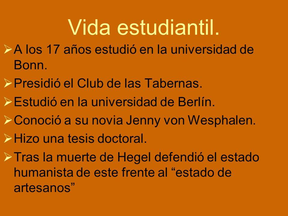 Vida estudiantil. A los 17 años estudió en la universidad de Bonn. Presidió el Club de las Tabernas. Estudió en la universidad de Berlín. Conoció a su