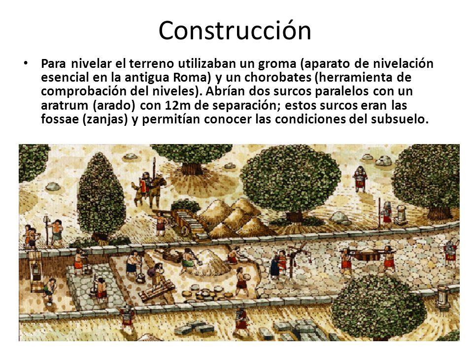 Construcción Para nivelar el terreno utilizaban un groma (aparato de nivelación esencial en la antigua Roma) y un chorobates (herramienta de comprobac