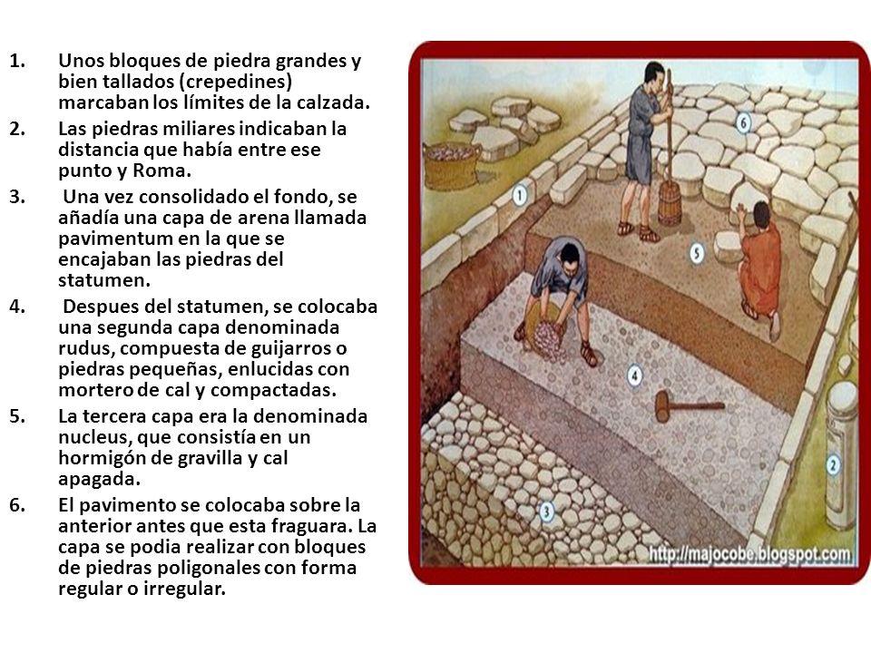 1.Unos bloques de piedra grandes y bien tallados (crepedines) marcaban los límites de la calzada. 2.Las piedras miliares indicaban la distancia que ha