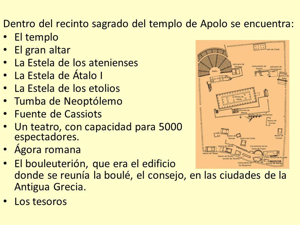 Dentro del recinto sagrado del templo de Apolo se encuentra: El templo El gran altar La Estela de los atenienses La Estela de Átalo I La Estela de los