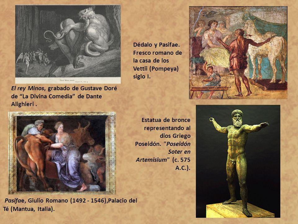 Pasifae, Giulio Romano (1492 - 1546),Palacio del Té (Mantua, Italia). El rey Minos, grabado de Gustave Doré de La Divina Comedia de Dante Alighieri. E