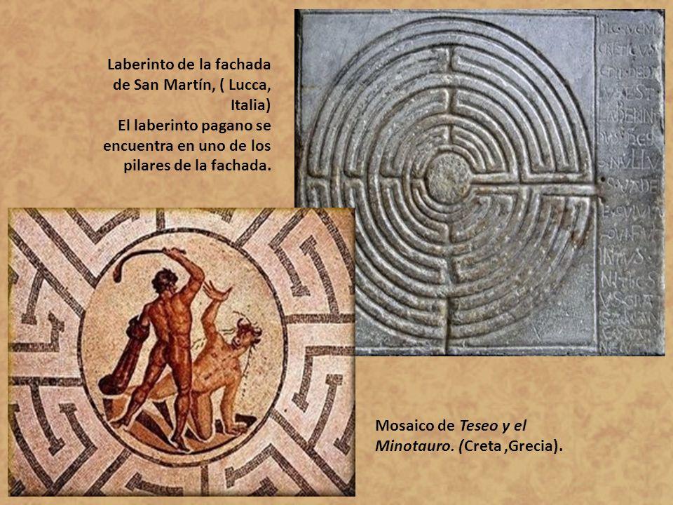Laberinto de la fachada de San Martín, ( Lucca, Italia) El laberinto pagano se encuentra en uno de los pilares de la fachada. Mosaico de Teseo y el Mi