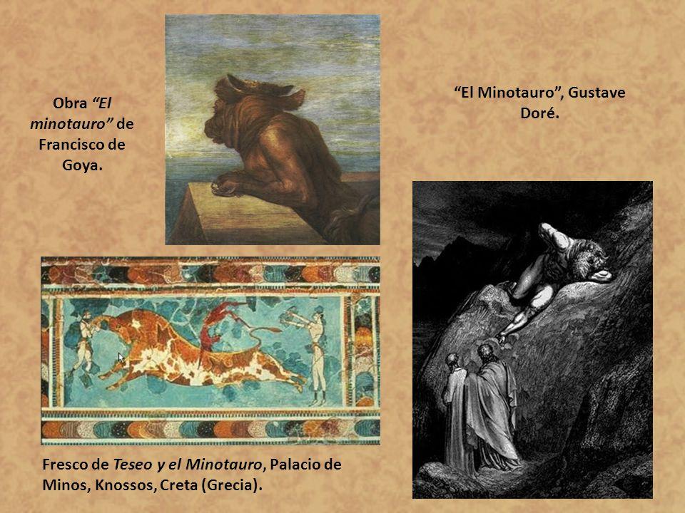 Obra El minotauro de Francisco de Goya. El Minotauro, Gustave Doré. Fresco de Teseo y el Minotauro, Palacio de Minos, Knossos, Creta (Grecia).