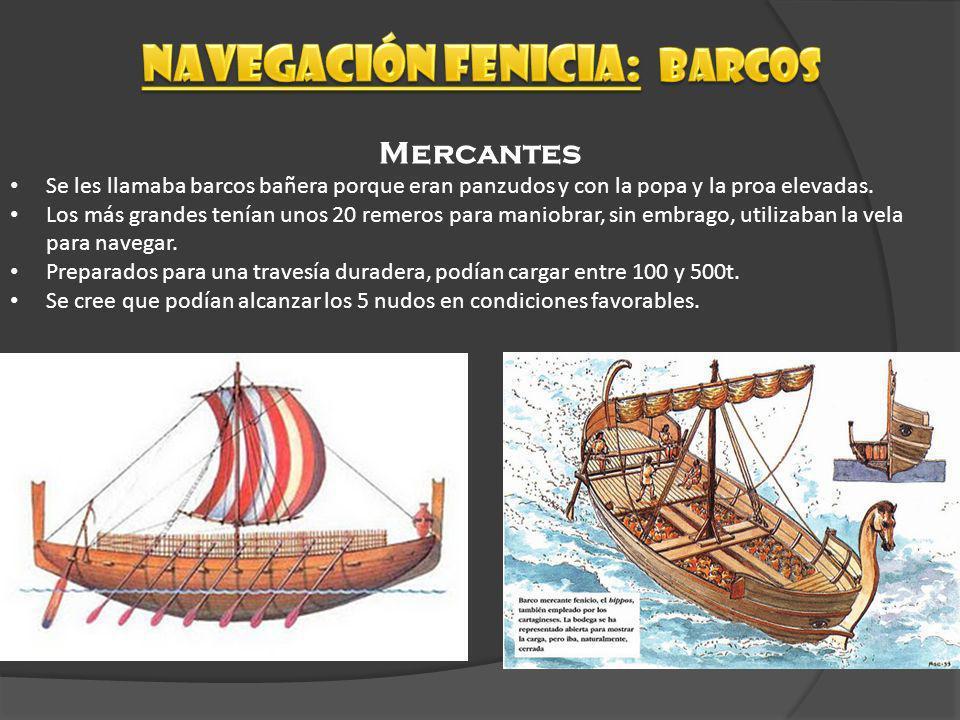 Naves de combate Hay diferentes tipos de galeras fenicias, todas con espolón, que cambian en el número de remeros y tamaño: La pentecóntera, de unos 30 m, era rápida y ágil y de poco calado, y podía portar 20 remeros.
