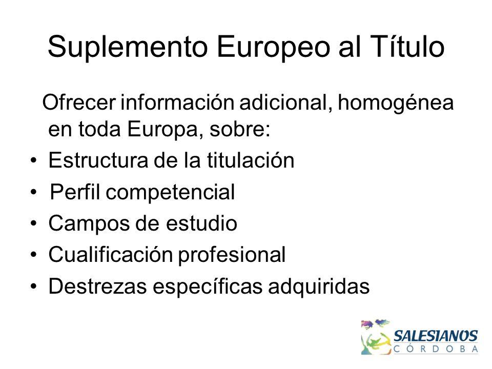 Suplemento Europeo al Título Ofrecer información adicional, homogénea en toda Europa, sobre: Estructura de la titulación Perfil competencial Campos de