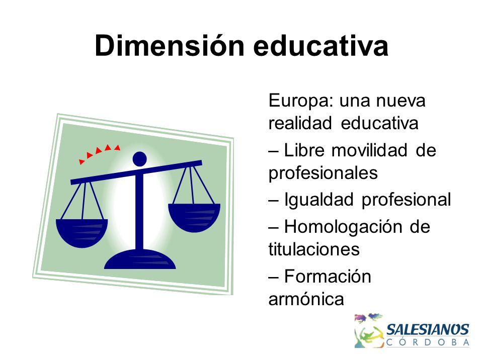 Dimensión educativa Europa: una nueva realidad educativa – Libre movilidad de profesionales – Igualdad profesional – Homologación de titulaciones – Formación armónica