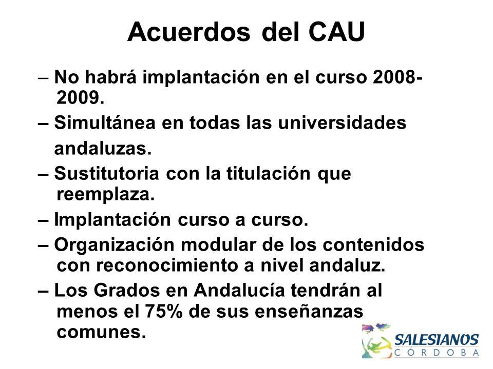 Acuerdos del CAU – No habrá implantación en el curso 2008- 2009. – Simultánea en todas las universidades andaluzas. – Sustitutoria con la titulación q