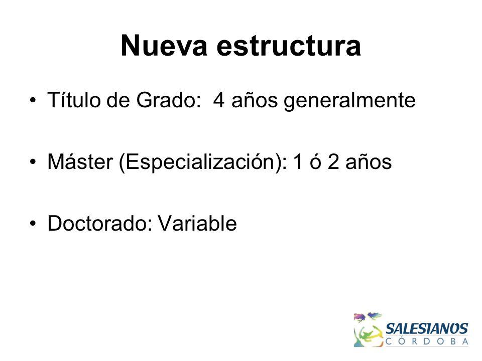 Nueva estructura Título de Grado: 4 años generalmente Máster (Especialización): 1 ó 2 años Doctorado: Variable