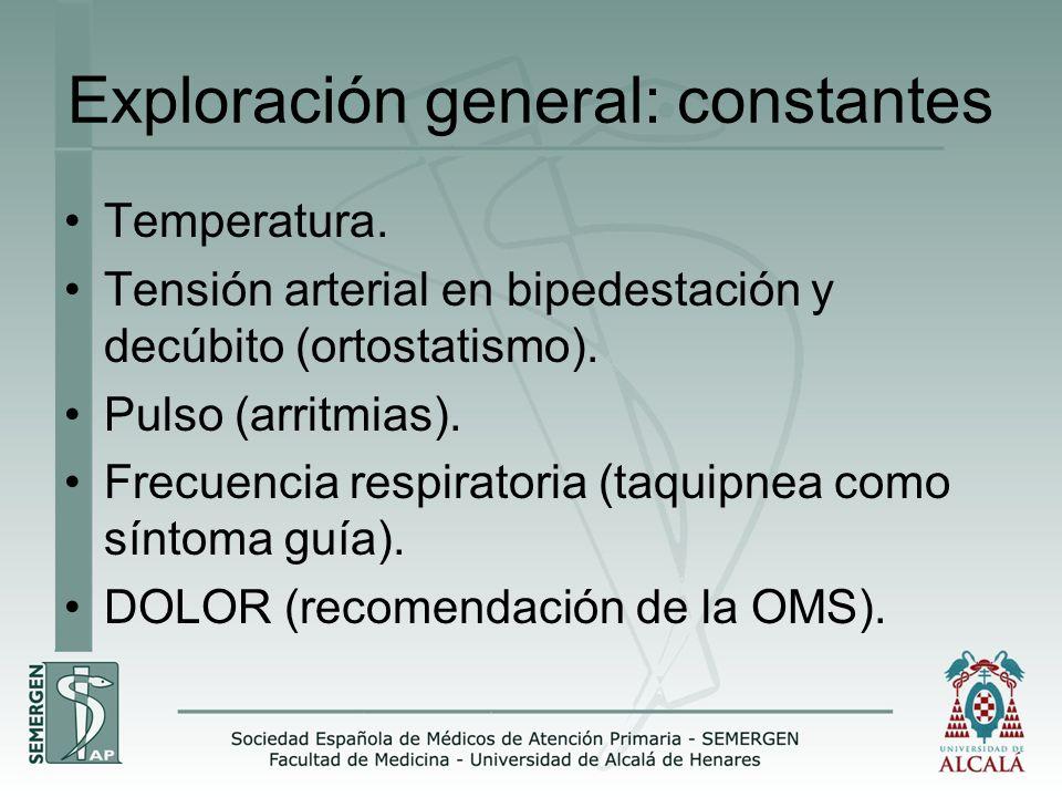 Exploración general: constantes Temperatura. Tensión arterial en bipedestación y decúbito (ortostatismo). Pulso (arritmias). Frecuencia respiratoria (