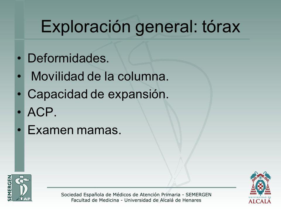 Exploración general: tórax Deformidades. Movilidad de la columna. Capacidad de expansión. ACP. Examen mamas.