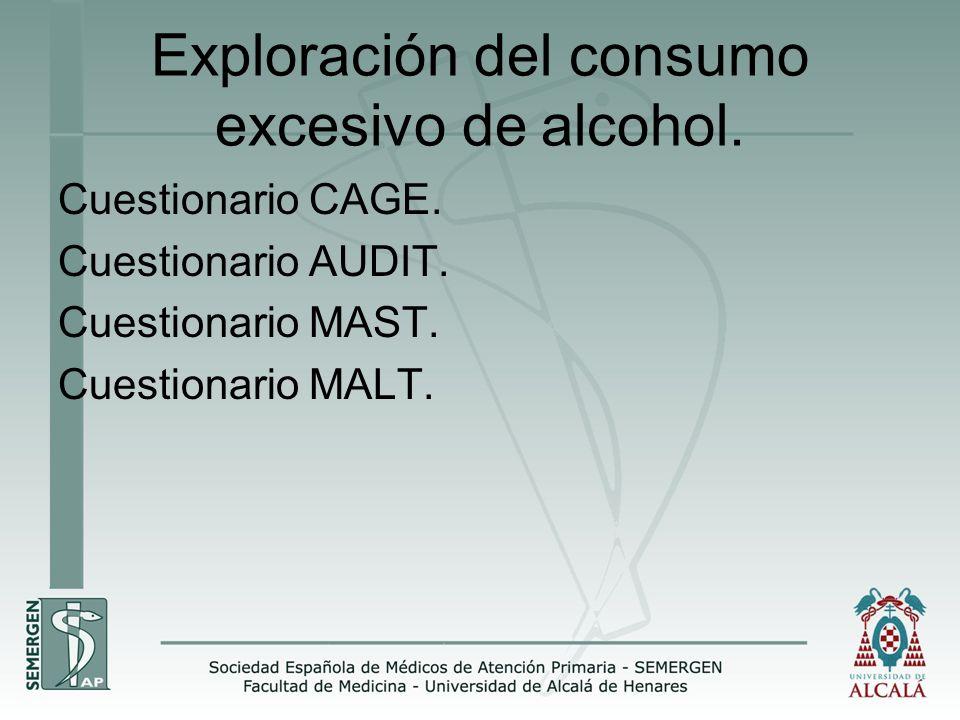 Exploración del consumo excesivo de alcohol. Cuestionario CAGE. Cuestionario AUDIT. Cuestionario MAST. Cuestionario MALT.