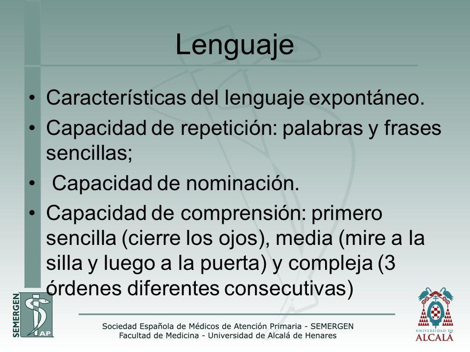 Lenguaje Características del lenguaje expontáneo. Capacidad de repetición: palabras y frases sencillas; Capacidad de nominación. Capacidad de comprens