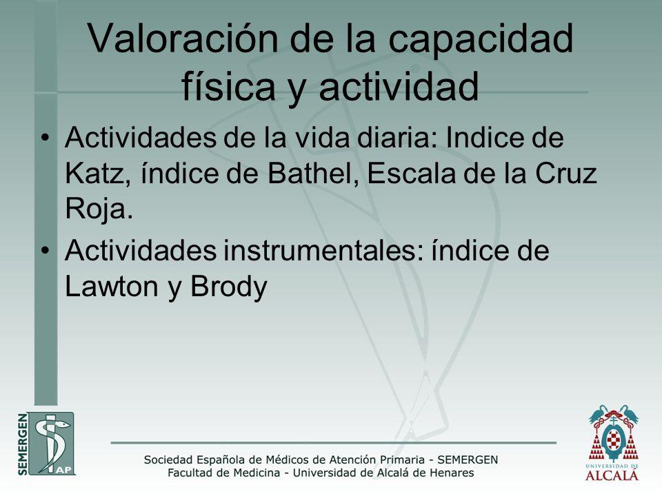 Valoración de la capacidad física y actividad Actividades de la vida diaria: Indice de Katz, índice de Bathel, Escala de la Cruz Roja. Actividades ins