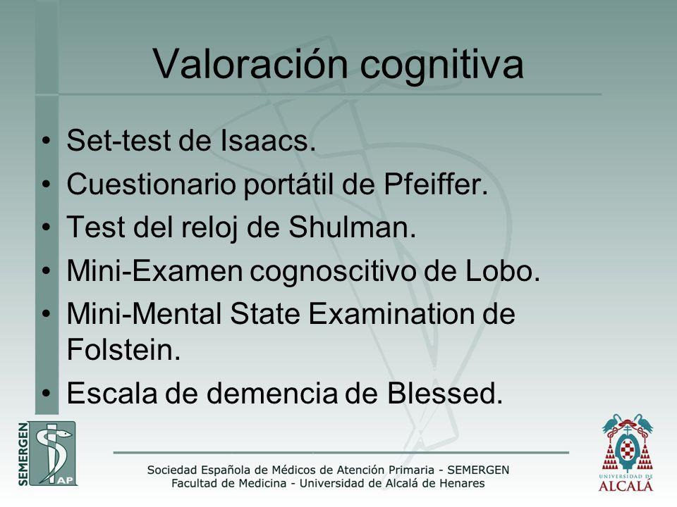 Valoración cognitiva Set-test de Isaacs. Cuestionario portátil de Pfeiffer. Test del reloj de Shulman. Mini-Examen cognoscitivo de Lobo. Mini-Mental S